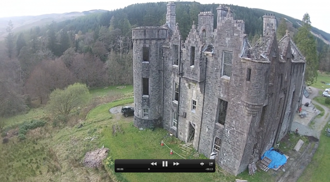 First Aerial Movie of Dunans Castle is over in 19 seconds, but shows spectacular potential!