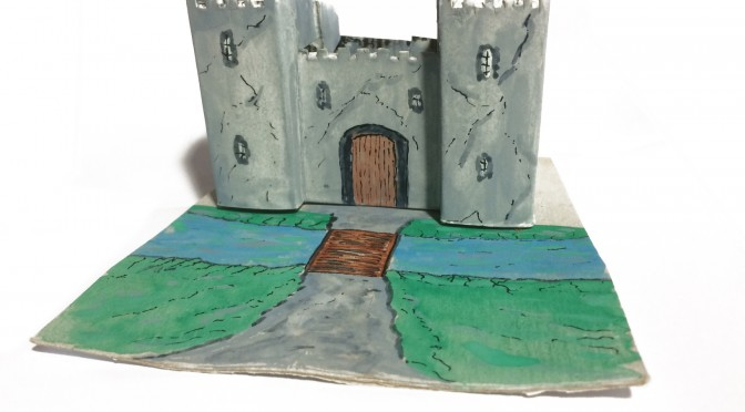 Adorning one's one square foot: delightful model castle with draw-bridge and two turrets