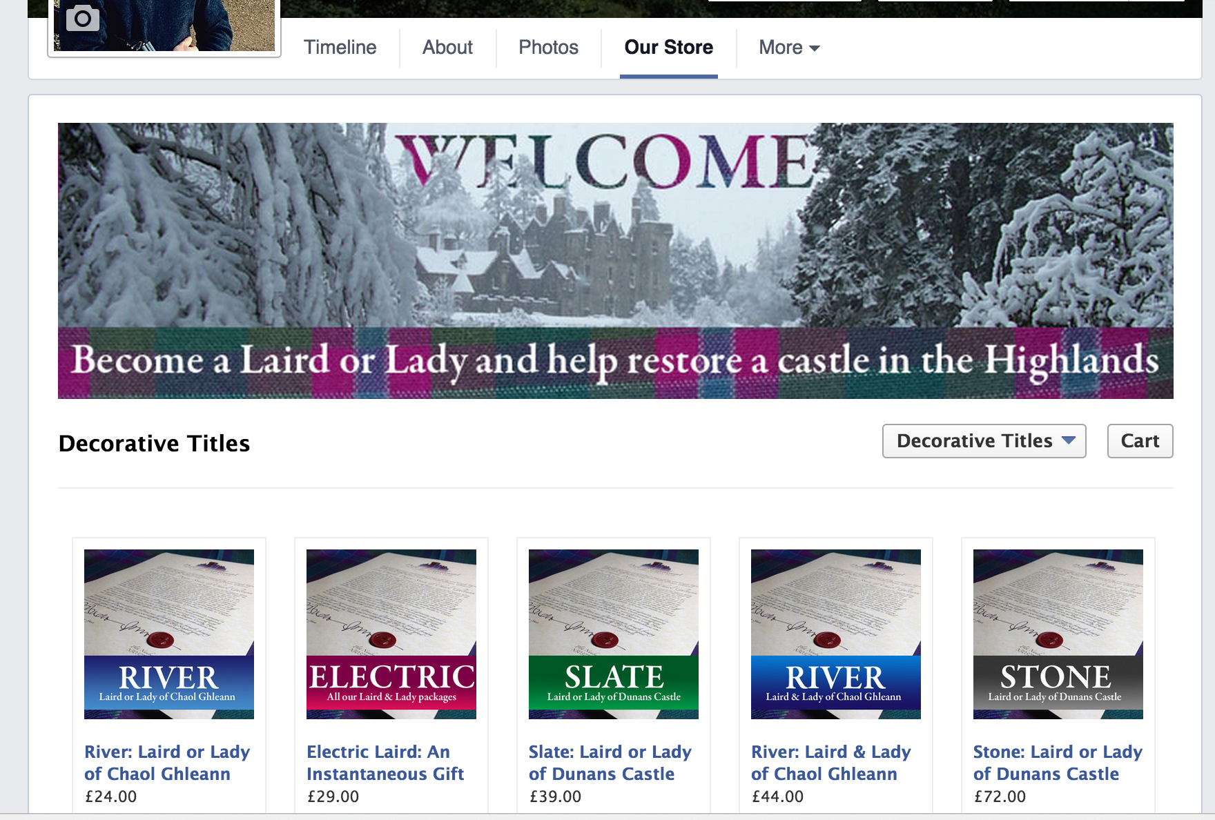 Scottish Laird takes next step: Facebook and Shopify stores