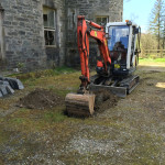 Digger from Westcoast plant hire in DUnoon