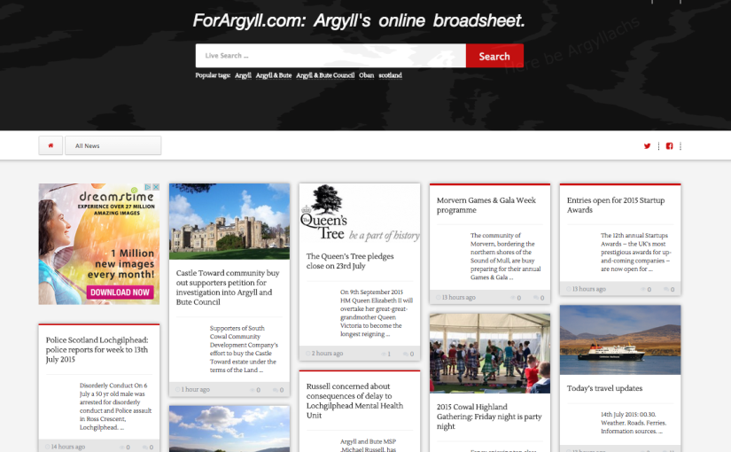 Going Mobile! ForArgyll.com's new design is Go!