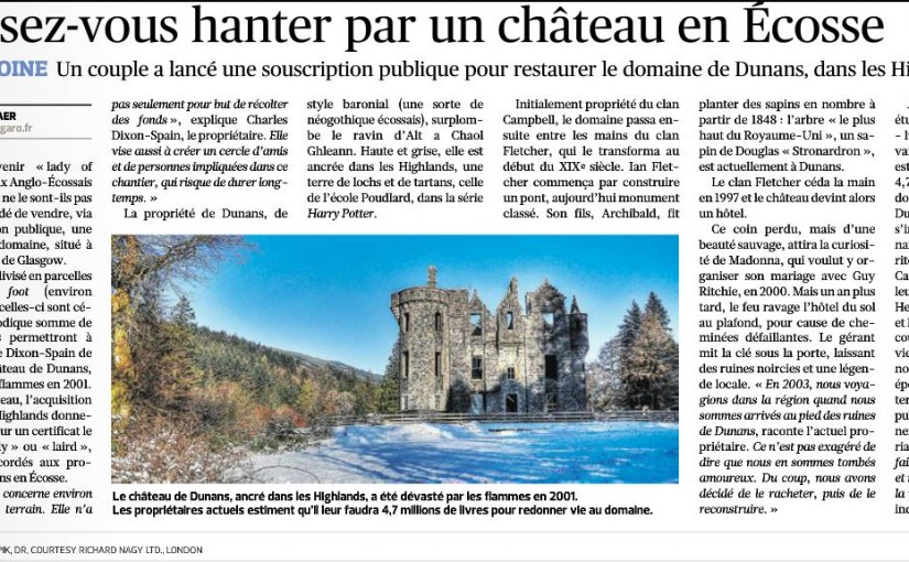Figaro, Figaro, Figaro! Features Dunans Castle & ScottishLaird in 'Le Figaro et Vous'